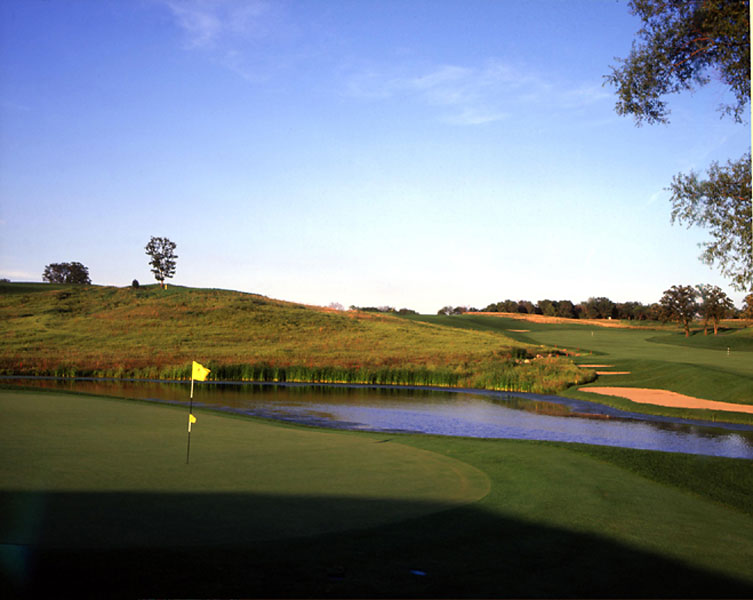 9. The Harvester, Rhodes, IA; 641-227-4653, harvestergolf.com                     Iowa hasn't exactly produced a bumper crop of superior public courses, but this Keith Foster design 30 miles northeast of Des Moines is an exception. The Harvester sweeps across the prairie with sharp yet flowing lines that harken back to 1920s-era Midwestern classics. Strategic options abound, with grassy slopes, slender streams and perfectly slotted traps all well-poised to snare the careless shot, proving the adage here that you reap what you sow.