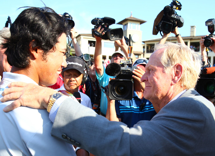 "Tournament host and course designer Jack Nicklaus congratulates Matsuyama. ""I'm really, really happy,"" Matsuyama said through his interpreter. ""It's a dream come true to win at Mr. Nicklaus' course."""