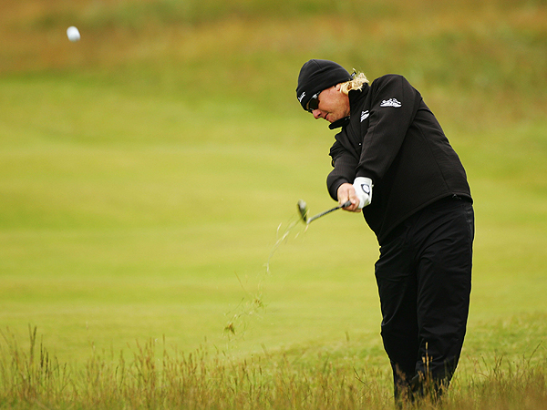 Charley Hoffman, playing his first Open Championship, hit out of thick rough on No. 2. Hoffman's six bogeys offset his five birdies Saturday as he shot 72.