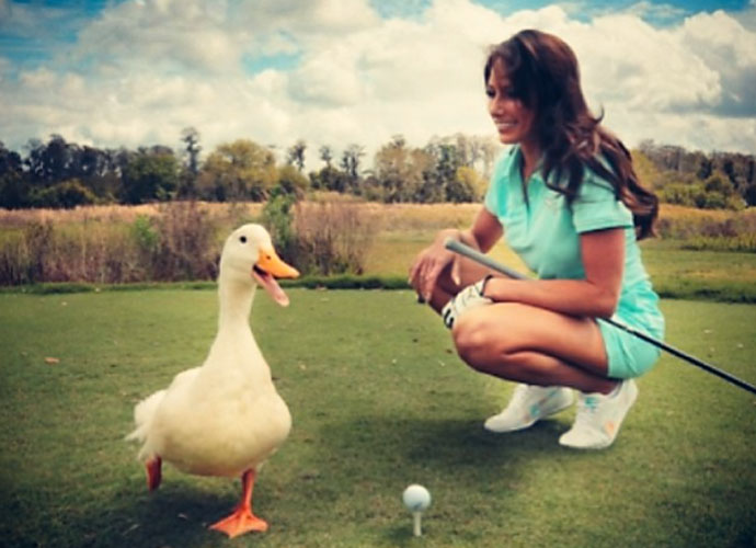@aflacduck                      There's no better golf coach than #HollySonders. Thanks for the driving tips. #DuckPOV #DuckTips