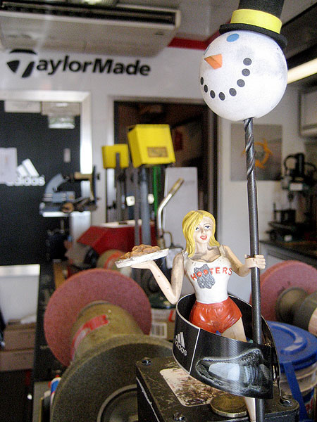 The Hooters doll inside TaylorMade's truck was a gift from John Daly.