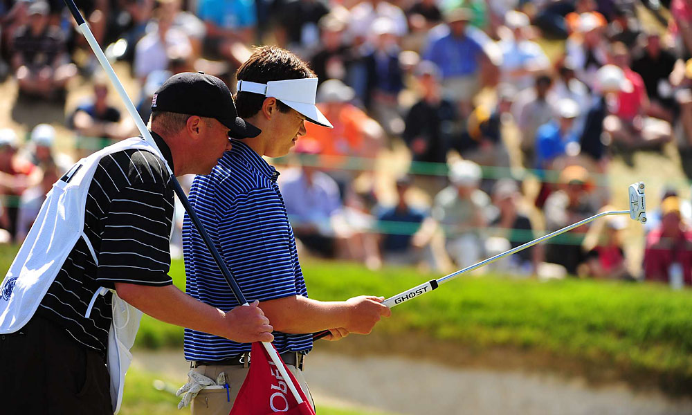 Beau Hossler, a 17-year-old amateur, followed each of his four bogeys with a birdie on the next hole. After an even-par 70, he is three over.