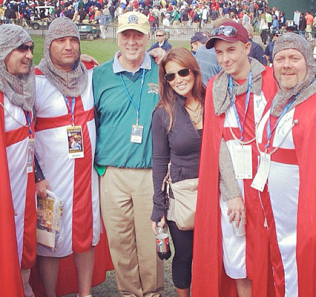 @si_golf:Rees Jones this afternoon with, apparently, some Templar knights. Rees didn't know them, but he was game for a photo op.
