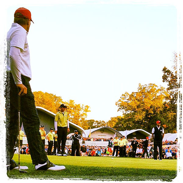 @stephaniemwei: Colsaerts, Europe's hero this afternoon, taking one last look at his putt for birdie on 18.