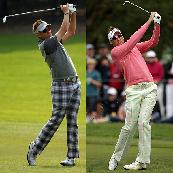 Poulter is not shy about vivid, almost lurid combinations, like coral pink with pale green plaid (right). Note how the gray in his argyle sweater (left) picks up on the gray tone of the trouser plaid.