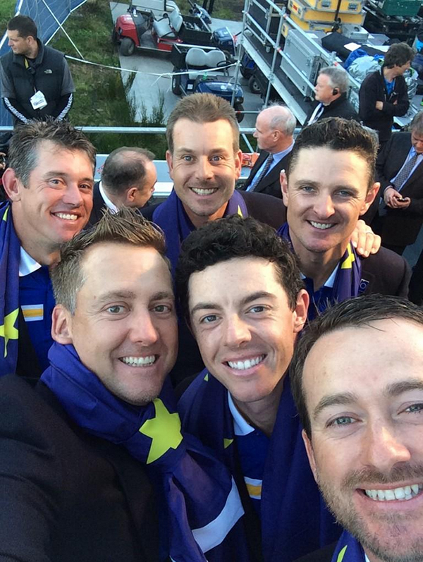 Ian Poulter snaps a winning selfie before the closing ceremonies.