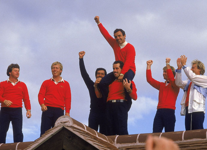 Woosnam (far left) was a member of the victorious 1985 European Ryder Cup team at the Belfry in England, where he celebrated with Howard Clark, Seve Ballesteros, captain Tony Jacklin, Sam Torrance, Paul Way and Bernhard Langer.