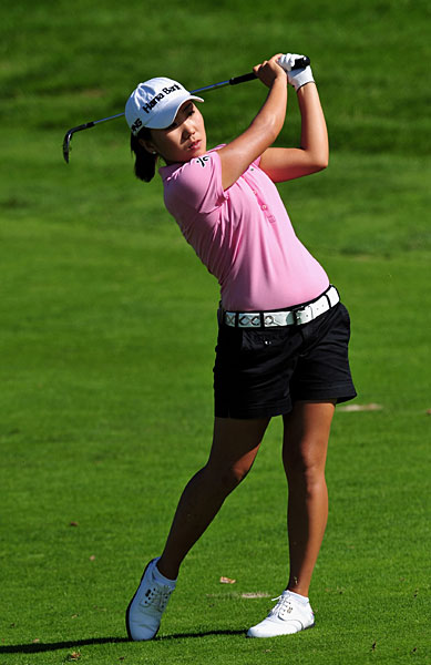 In-Kyung Kim is tied with Gustafson at the top of the leaderboard along with Becky Brewerton.