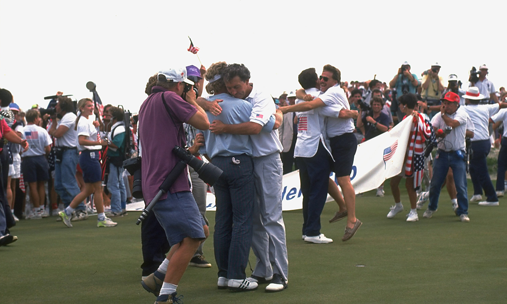 Langer missed the putt, and the partisan crowd – along with the American players – erupted.