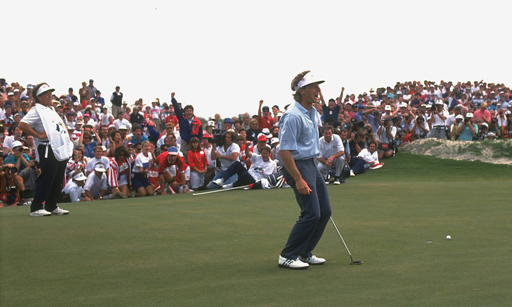 "After Irwin's misstep, Langer faced a six foot par putt to win the match – and the Cup – for Europe. ""I couldn't breathe, I couldn't swallow,"" he said of the putt. ""The sphincter factor was high."""