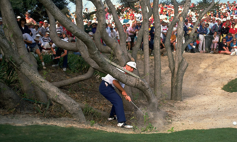 Kiawah's Ocean Course, which opened earlier in 1991, showed its teeth all week. High winds and ubiquitous trouble tested the players' mettle and imagination. Lanny Wadkins, above, wasn't the only player to venture into the island's wilds.