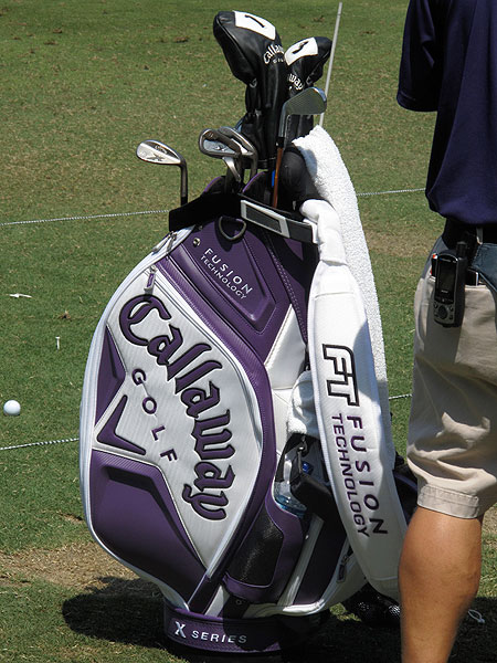 lives in Ft. Worth and graduated from Texas Christian University, which is less than a mile from Colonial. This week he has Horn Frog colors on his Callaway bag.