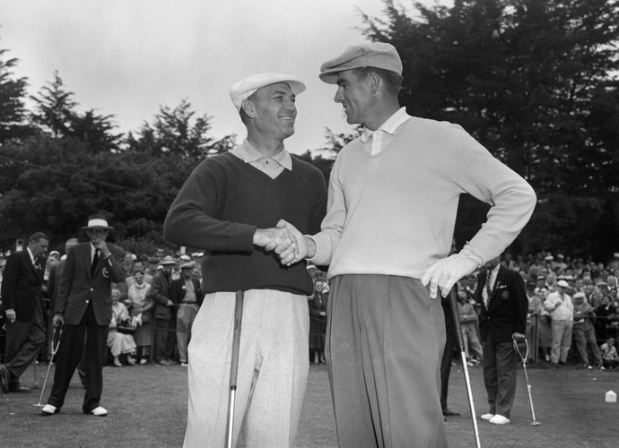 Ben Hogan (left) and Jack Fleck wish each other luck prior to the playoff for the 1955 U.S. Open. Fleck, a virtual unknown, came on during last round of the tourney to match Hogan's 287 score and throw the match into a tie.