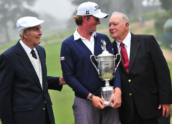 Jack Fleck (left) and Billy Casper (right) congratulate 2012 U.S. Open champion Webb Simpson at the Olympic Club in San Francisco.
