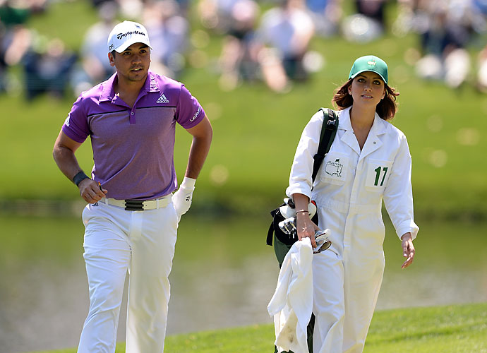 Jason Day had his wife, Ellie, on the bag.