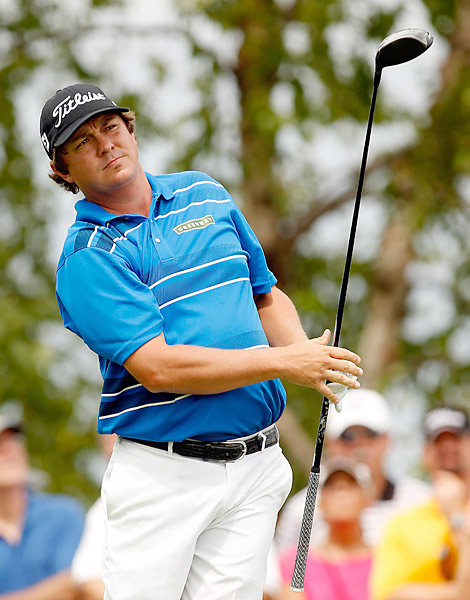 Jason Dufner was in action at Liberty National Thursday.