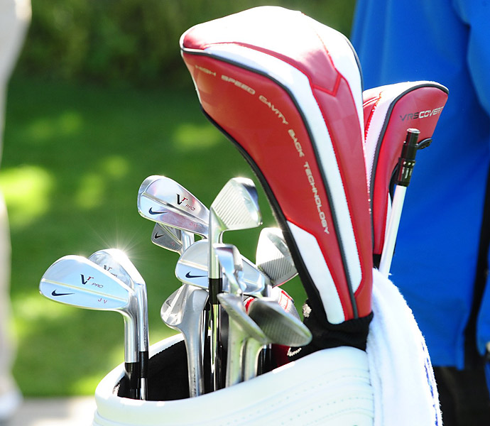 Nike VR Pro wedges with custom stamps grace the bag of Jhonattan Vegas.