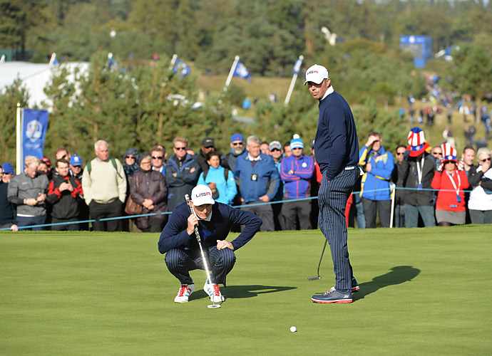 Jim Furyk and Matt Kuchar teamed together in the Friday afternoon foursome matches. They lost 2 down to Jamie Donaldson and Lee Westwood.