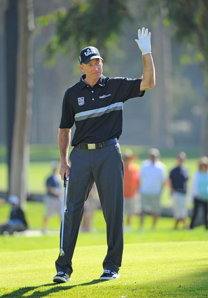 Jim Furyk birdies the second hole in the first round. He shot a 3-under 68, two shots back of the lead.