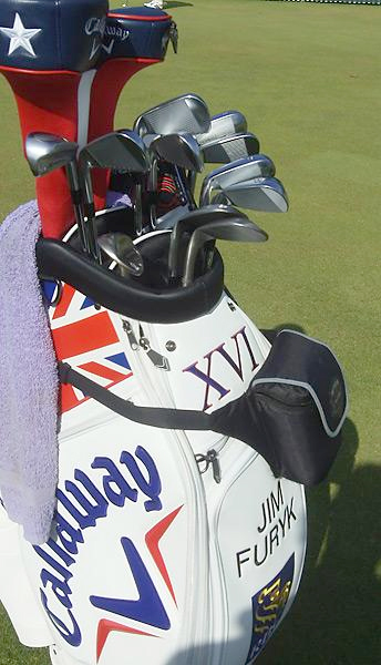 Jim Furyk's clubs were housed in a custom Callaway British Open golf bag at Muirfield.