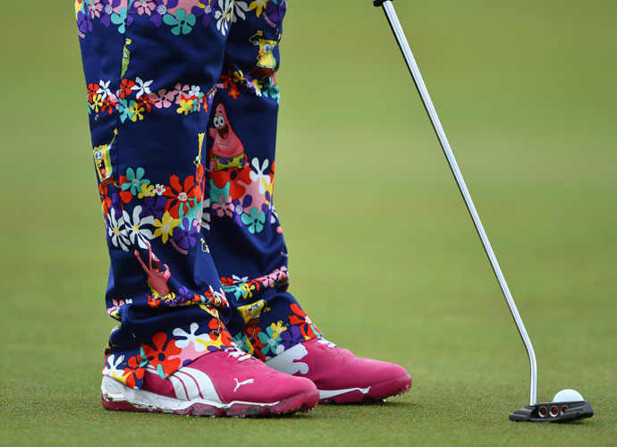 John Daly played his Wednesday practice round in Spongebob Squarepants pants.