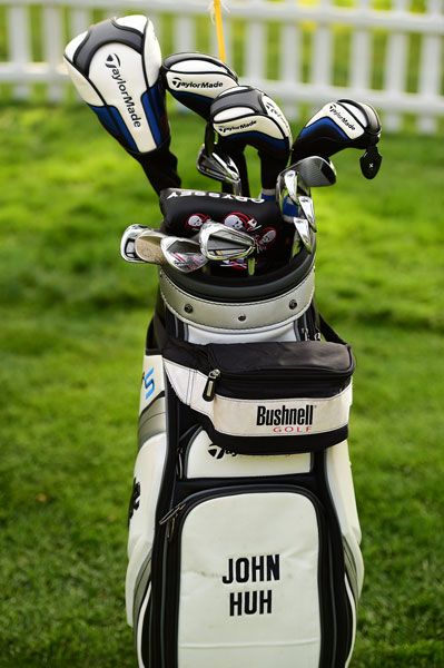 LA's own John Huh has an Odyssey putter mixed in with a collection of TaylorMade gear that includes Rocketbladez Tour irons and a Tour Preferred wedge.