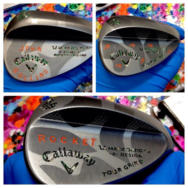 Callaway Mack Daddy 2 wedges stamped for Virginia native John Rollins, a notorious hunter, with his nickname and a camouflage design.