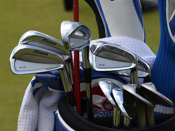 Jonathan Byrd uses Mizuno's MP-62 irons. The thicker-soled club in the middle of his bag is an MP-CLK hybrid iron that is no longer in the company's line.