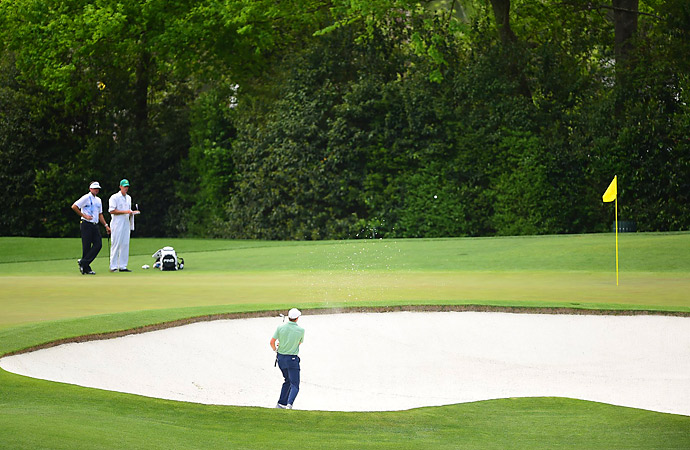 Spieth got a birdie at the 2nd, then found himself in the front bunker at the 4th.
