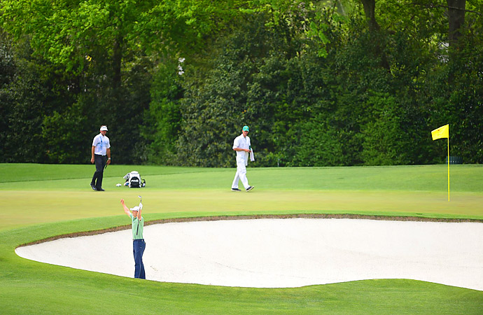 He holed the bunker shot for birdie and the early lead.