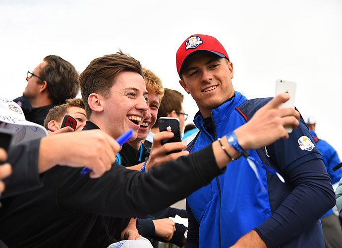 THURSDAY                     Jordan Spieth takes a selfie with a fan during practice rounds Thursday at Gleneagles.