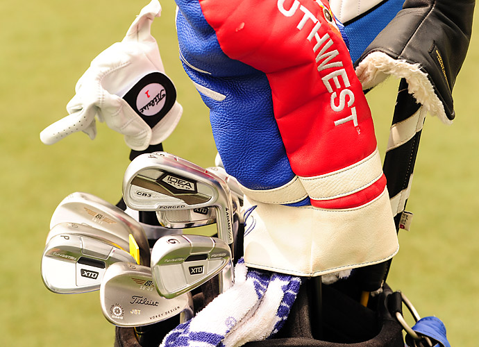 Kentucky native Josh Teater favors a mixture of Adams Idea Forged CB3 long irons and XTD Forged mid and short irons, as well as Titleist Vokey SM4 wedges. A Titleist golf glove is also part of his gear lineup.