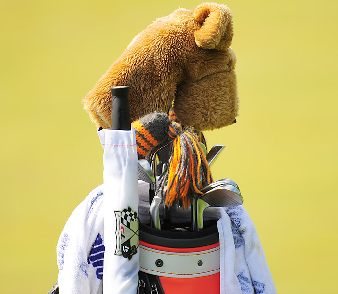 A unique headcover guards the driver of Justin Hicks, who is playing in his fifth U.S. Open.