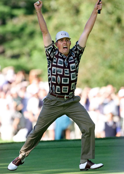 "1. 1999; U.S. 14 ½ Europe 13 ½                       Following Captain Ben Crenshaw's Saturday night premonition (""I've got a good feeling about this""), the U.S. completed the greatest final-day comeback in Ryder Cup history. Justin Leonard capped the improbable win by draining a 45-foot putt on the 17th hole in his singles against Jose Maria Olazabal, prompting a raucous celebration, with players, wives and caddies storming the green."