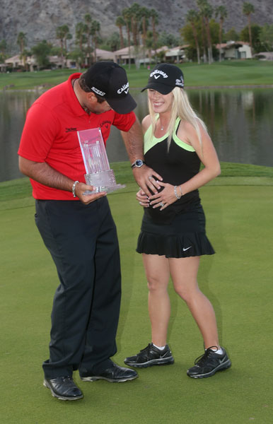 A pregnant Justine Reed joined husband Patrick when he won the 2014 Humana Challenge in La Quinta.