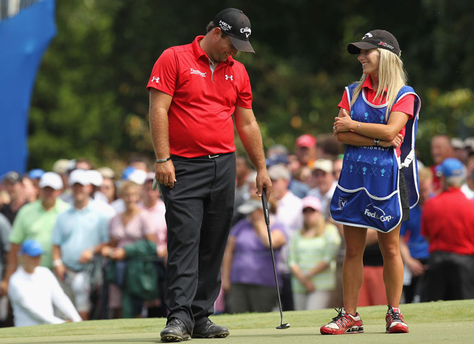 Justine Reed caddied for her husband, Patrick, during the 2013 Wyndham Championship. Reed won the tournament in a playoff, a victory he credited with jump-starting his career.