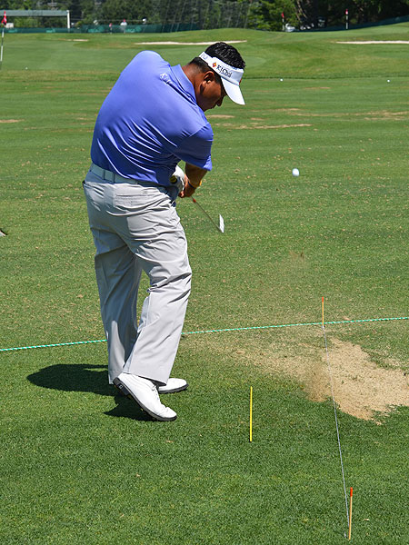 K.J. Choi, winner of the 2011 Players, one-upped Casey by using an alignment stick and a long rope to ensure his body position and aim were accurate.