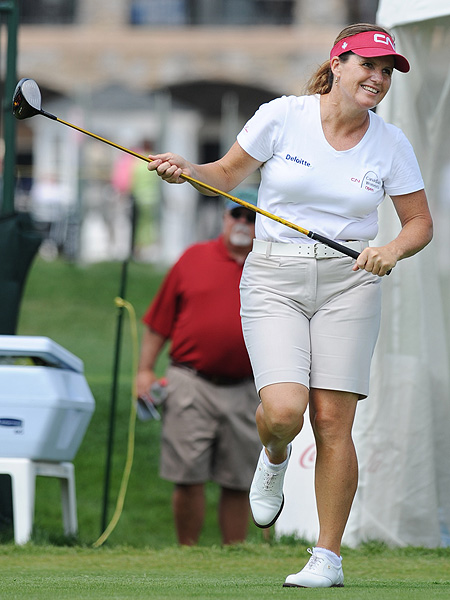 Lorie Kane was pleased with her tee shot on the 10th hole, but she failed to make a birdie on her second nine Friday. Kane followed her Thursday 66 with a 70 to leave herself in third place.