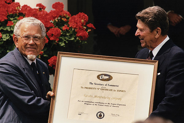 "In 1988, Solheim and the Karsten Manufacturing Company received The President's ""E"" Certificate for Exports from Ronald Reagan. The award reads, ""For an outstanding contribution to the Export Expansion Program of the United States of America."" Today, Ping employs nearly 1,000 people in the Scottsdale area, where its corporate offices and club-making foundry are located."