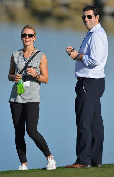 Sergio Garcia's girlfriend, Katharina Boehm, watches a practice round before the Accenture Match Play.