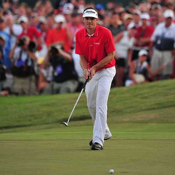 """With Keegan Bradley's win, his clothing sponsor, Oakley, has lucked out again. In the sponsorship crapshoot, Oakley has rolled a 7-11 now with both Rory McIlroy and Bradley wearing their """"O."""" The PGA winner wore Oakley apparel head to toe, including the company's Take Pant 2 stretch trousers and new SuperDrive Tour golf shoes."""