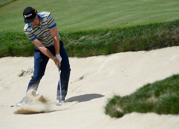 Round 1                         Keegan Bradley got up and down for birdie from this bunker on the par-5 18th.