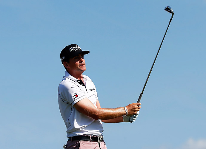 Keegan Bradley is in sole possession of second, three shots behind Scott.