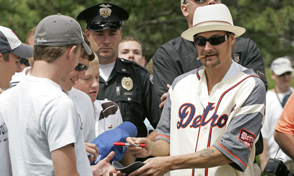 Kid Rock, paired with John Daly at the 2008 Buick Open Pro-Am, may not be a regular on the pro-am scene, but he did make headlines in 2007 when he outfitted a high school girl's golf team with new clubs after theirs were stolen.
