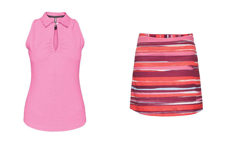 LIJA Maxim Keyhole Polo, $70, and Mira Brushed Skort, $110; lijastyle.com                       Composed of moisture-wicking, quick-drying stretch material, LIJA offers feminine golf apparel in modern silhouettes and bright colors that are perfect for spring.