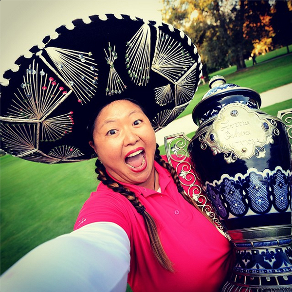 "This LPGA Winner Selfie was one of the best of 2014. LPGA: ""#LPGAWinnerSelfie with Christina Kim at the Lorena Ochoa Invitational"""