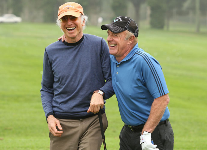 Larry David and James Caan play the Callaway Golf Foundation Challenge at the Riviera Country Club in 2007. David, a 14.5 at Riviera Country Club, will get some shots from Caan, who carries a 7.2 index at El Caballero Country Club.