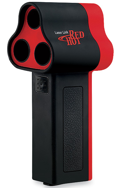 "Laser Link Red Hot                       $299; laserlinkgolf.com                       The Upside: The easiest to use of                       all the leading rangefinders, the Laser                       Link is a simple point-and-shoot                       with just one button to cut down                       on confusion. It draws a bead on a                       flagstick-mounted target, so you don't                       have to worry if you've mistakenly                       dialed in a tree or other object.                       Something else you should                       know: It can be a challenge to ""shoot"" the flagstick, especially from beyond 200 yards, if the course you're                       playing isn't equipped with flagstick mounted                       Laser Link reflectors."