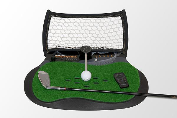 Golf Launchpad Tour ($200; electricspin.com)                       After connecting this diminutive simulator to your PC, Mac or PlayStation, it allows you to hit a tethered ball using your our clubs and see your shots virtually fly on screen.