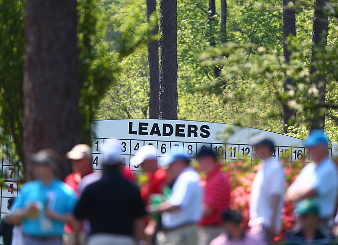 One of the leaderboards during the third round.